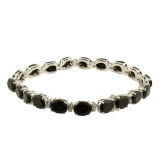 Sterling Silver Oval cut Black Onyx and Diamond Accent Link Bracelet
