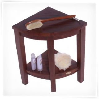 Decoteak Lift Aide Extended Height Teak Corner Spa Shower Bench with
