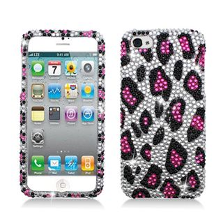 BasAcc Full Diamonds Silver/ Pink Leopard Case for Apple iPhone 5