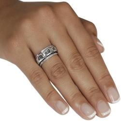 Tressa Sterling Silver Footprint Spinner Ring