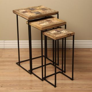 Set of 3 Metal Mumbai End Tables (India)