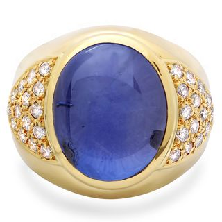 Roberto Martinez 18k Gold Mens Blue Star Sapphire and 1ct TDW Diamond