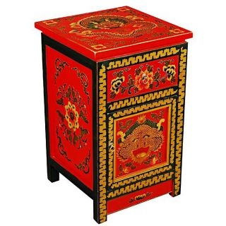 Tibetan Red Hand painted Dragons End Table