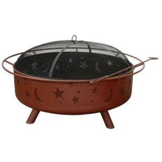 Landmann 43 in. Super Sky Stars & Moons Fire Pit   Georgia Clay   Wood
