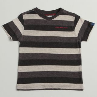 Calvin Klein Boys Gray Striped Pullover Short sleeve V neck Shirt