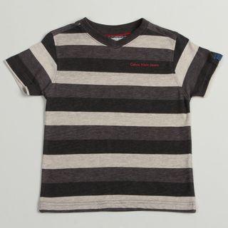 Calvin Klein Boys Gray Striped Pullover Short sleeve V neck Shirt