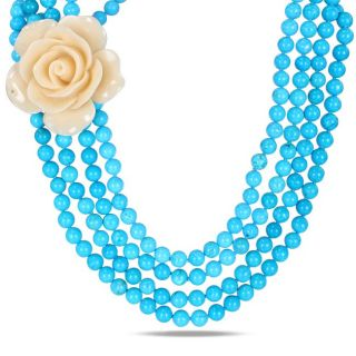 Four Strand Turquoise Bead and White Rose Necklace