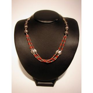 Silver and Red Coral Necklace (Nepal)