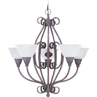 San Remo Five light Textured Rust Patina Fluid form Chandelier