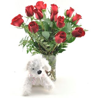 Valentines Day Pre Order) One dozen Red Roses With Plush Puppy and
