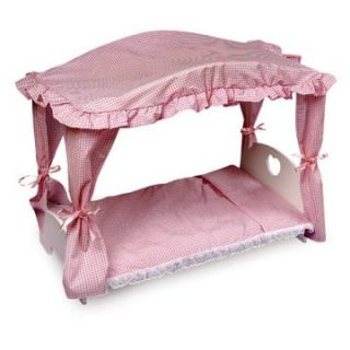 Badger Basket Pink Gingham Princess Canopy Doll Bed   Baby Doll