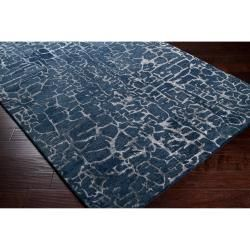 Hand tufted Contemporary Blue Papillion New Zealand Wool Abstract Rug