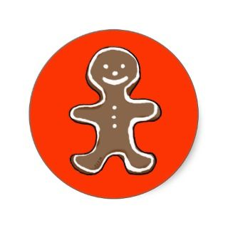Gingerbread man cookie round sticker