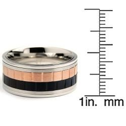 Tri color Stainless Steel Mens Spinner Ring (10 mm)