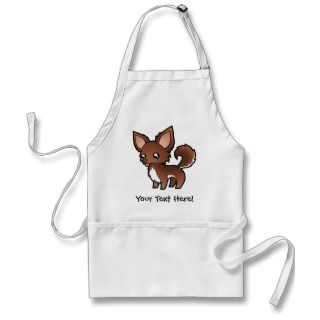 Cartoon Chihuahua (chocolate and white long coat) aprons by