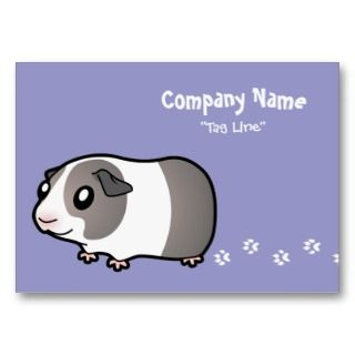 Cartoon Guinea Pig (silver dutch) business cards by SugarVsSpice
