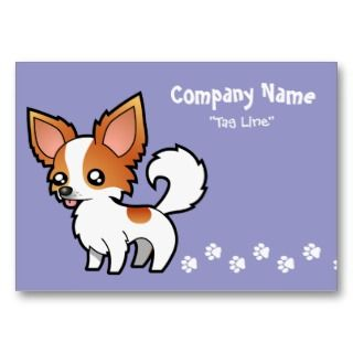 Cartoon Chihuahua (red parti long coat) business cards by SugarVsSpice