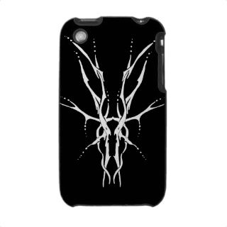 Deer Skull Tribal Tattoo   white on black iPhone 3 Cases