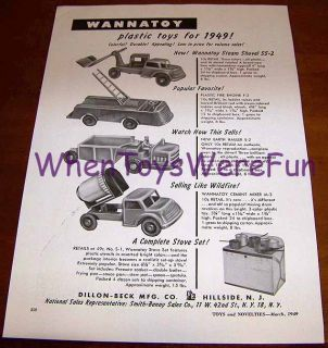 1949 Wannatoy Steam Shovel Fire Engine Mixer Trade Ad