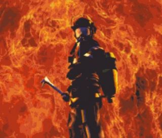 Firefighter in Flames Fireman Fire Fighter Counted Cross Stitch Chart