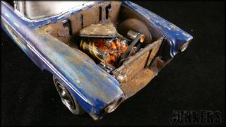 Built 1956 1/24 CHEVROLET BEL AIR JUNK YARD  Junker diorama weathered