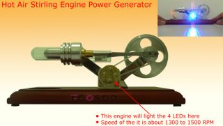 Hot Air Stirling Engine Electricity Power Generator Great Educational
