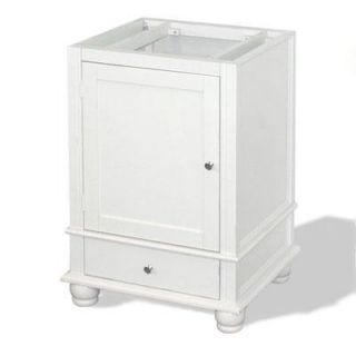 American Bath Factory W1 2433 WH 2 CH Cape Mansion 24 Vanity Cabinet in Weathered White With Classic Bun Chrome Feet